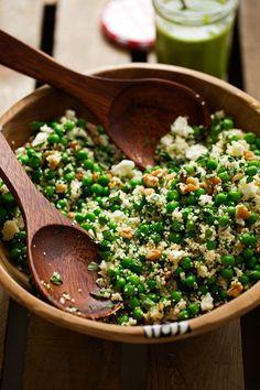 spring couscous with basil vinaigrette