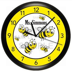 BUMBLE-BEES-WALL-CLOCK-PERSONALIZED-GIFT-CLASSROOM-YELLOW-BLACK-ART-DECOR-CUSTOM