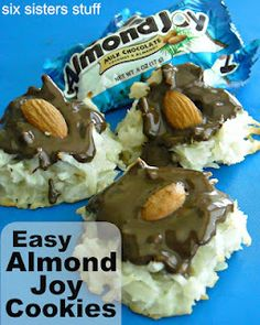 Easy Almond Joy Cookies from sixsistersstuff.com. #cookie #dessert #recipe Candy Recipes, Sweet Recipes, Dessert Recipes, Dessert Ideas, Cookie Recipes, Just Desserts, Delicious Desserts, Cookie Desserts, Yummy Food
