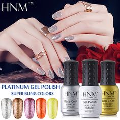 HNM Super Bling Colors UV Gel Polish 8ML Long Last Gel Nail Polish Platinum Gel Lak Gel Varnish Gelpolish Vernis Semi Permanent