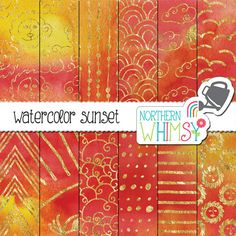 Pink Digital Paper - Watercolor Sunset - sun, cloud and geometric patterns in gold foil on a pink, coral & yellow background -commercial use