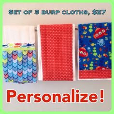 Personalized blue and orange construction burp cloths set of 3 personalized blue and red sea burp cloths set of 3 perfect baby shower gift negle Gallery