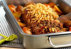 Campbell's Onion-Crusted Meatloaf with Roasted Potatoes Recipe