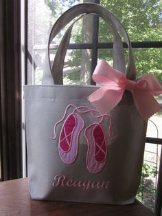 TOTE BAG Ballet Slippers Toddler or Big Kid Tote by BurpieBundles Ballet Bag, Big Sister Gifts, Library Bag, Trick Or Treat Bags, Great Birthday Gifts, Kids Bags, Tote Bag, Big Kids, Bag Making