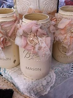 Quart Mason Jar Ties/ Choose A Color/ Flower Aprons/ Rustic Wedding Decorations/ Shabby Flowers/ Country Chic Decor/ Embellishments/ Bridal