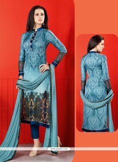 Digital Print Satin Churidar Designer Suit In Blue Model: YOS8551