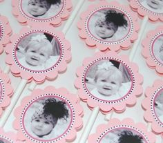 Cupcake toppers.....  This would be cute for a 'first year' birthday, using 1st -12th month pictures.