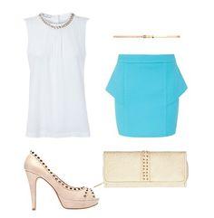 Look sofisticado en blanco, crema y azul cielo, de @SUITEBLANCO