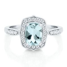 Cushion Cut Aquamarine Ring