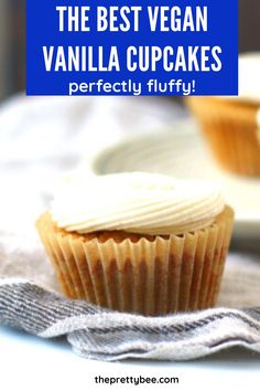 Birthday coming up? Make these fluffy vanilla cupcakes with a perfectly creamy frosting! You will love how easy these are. #vegan #vanilla #cupcakes #dairyfree