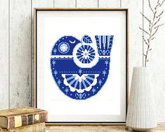 Scandinavian folk bird cross stitch pattern, ethnic cross stitch, abstract, geometric, embroidery, Apple, animal, decor, instant pdf
