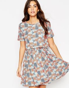 Buy it now. ASOS T-Shirt Dress with Overlay in Floral Print - Multi. Casual dress by ASOS Collection, Mid-weight, soft touch jersey, All-over print, Boat neckline, Cropped double layer design, Soft pleating to skirt, Open back detailing, Regular fit - true to size, Machine wash, 95% Viscose, 5% Elastane, Our model wears a UK 8/EU 36/US 4 and is 176 cm/5'9.5� tall. ABOUT ASOS COLLECTION Directional, exciting and diverse, the ASOS Collection makes and breaks the fashion rules. Scouring the…