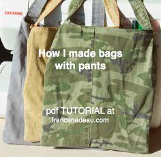 Making bags from pants - pdf tutorial at francenadeau.com