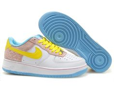 low priced f3eb5 77e7c Chaussures Nike Air Force One Blanc  Jaune  Rose  nike 10507  - €56.91