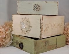 3 Drawers, 3 Ways ... Old Drawers to Decorative Boxes - these are painted _ you can cover with wallpaper _ using modpodge to cover with wrapping paper, old cards, any decorative paper, material, copies of  photos _ glue on small decorative embellishments _ use hot glue gun to make raised designs or write with & paint over _ and a knob. (use spackle to fill in & smooth any joints you don't like if painting) | The Polka Dot Closet