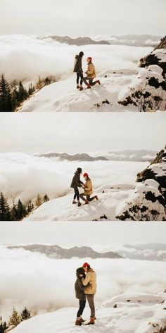He asked her to marry him on a snowy mountain above the clouds, and it's such a stunning proposal!