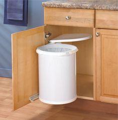 Kitchen In Cabinet Under Sink Trash Can Waste Basket Lid Pivot Pull Out Hardware Inside Cabinets, Best Kitchen Cabinets, Camper Storage, Diy Camper, Camper Hacks, Rv Hacks, Diy Kitchen Storage, Laundry Room Organization, Under Sink