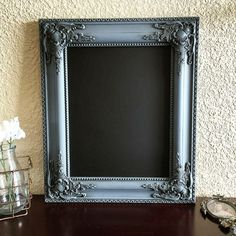 Ornate framed chalkboard painted with Heirloom Traditions Chalk Type Paint in a mixture of Moody and Black Velvet. Finished with Heirloom Traditions Dark Umber Wax.  www.facebook.com/kelleysvintageheart