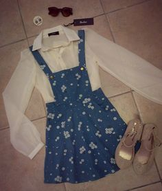 Look of the day... Bow Peep earrings - R55 Sunglasses - R120 Beelee chiffon shirt - R450 Cottage Clothing dungaree dress - R270 Cottage Clothing jellybaby shoes - R320