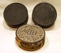 antique tobbaco cans | ... OLD VINTAGE TOBACCO CHEW CANS BY UNITED STATES TOBACCO CO. LOT OF 3