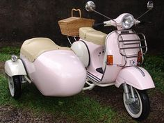 Vespa PX Pink With Sidecar... I'd make my husband sit on side cart!! He'd look so cute! LOL