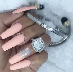 Nail Art Ideas For Coffin Nails - Glitter Them Peach - Easy, Step-By-Step Design For Coffin Nails, Including Grey, Matte Black, And Great Bling For Instagram Ideas. Includes Everything From Kylie Jenner Ideas To Nailart For Short Nails, Long Nails, And Beautiful Shape And Colour Like Pink. Polish For Jade, Glitter, And Even Negative Space - https://www.thegoddess.com/nail-ideas-coffin-nails