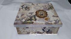 """Caixa vintage """"Memorias"""", com 9 divisões"""