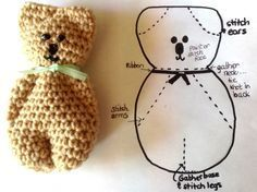 okay there's a crochet version and a knit version.. also can be made on a loom.. there's a previous pin for the dolls ---> .. use that one and sew the ears like it shows here..