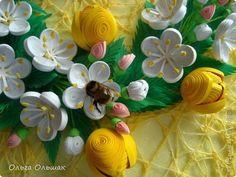 Картина, панно Бумагопластика, Квиллинг: Аромат весны. Бумага, Бумага гофрированная, Бумажные полосы, Проволока. Фото 5