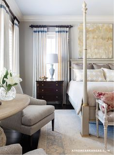 The Zhush: Chic and Colorful in Arkansas - master bedroom furniture arrangement and nightstands.