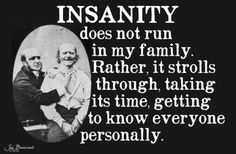 I think whoever wrote this might have done so after meeting my family, lol! I can't stop laughing, lol! Great Quotes, Funny Quotes, Awesome Quotes, Cheeky Quotes, Humorous Sayings, Fantastic Quotes, Random Sayings, Quotes Pics, Quirky Quotes