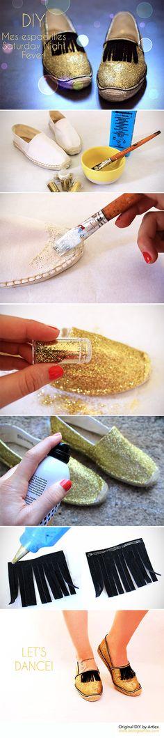 Customised shoes DIY // Glitter shoes DIY // DIY espadrilles customisées // DIY chaussures à paillettes // Blog mode et DIY Artlex