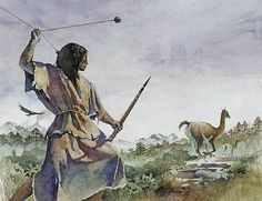 Gregory Harlin - An Ice Age hunter uses a bola and a wooden spear to hunt a llama-like prey