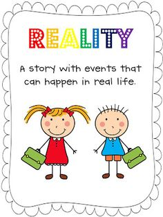 Anchor charts containing a definition and illustration for fantasy and reality stories. Anchor Charts First Grade, Reading Anchor Charts, Fiction And Nonfiction, Fiction Writing, Reading Strategies, Reading Comprehension, Small Group Reading, Reading Groups, Thoughts On Education