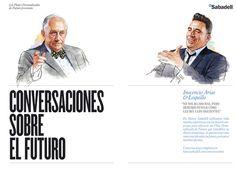 Plata Laus 2012 | Dirección de arte en ilustración |  Título: ILUSTRACIONES CONVERSACIONES SOBRE EL FUTURO |  Autor: *S, C, P, F... |  Cliente: BANC SABADELL