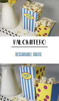Tutorial Palomitero descargable para fiestas. DIY popcorn bucket for parties, free download.