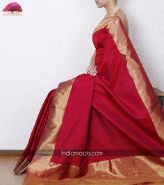 Pink kanjivaram silk saree with pure gold zari work on palla and border by Tithli Silks on Indianroots.com