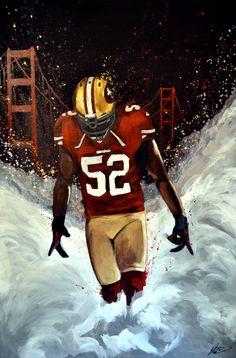 Patrick Willis, San Francisco 49ers. Acrylic Painting 24x36.