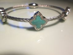 Bracelet SILVER colored twisted cable 3 turquoise by tonytheplane, $40.00