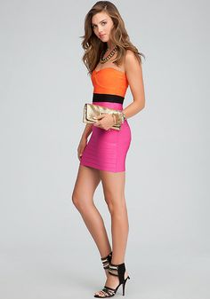 bebe | Colorblock Party - View All - Strapless Bandage Colorblock Dress - Janine Metal & Leather Strap Sandal - Iridescent Mesh Clutch - Leather Wrapped Chainlink Necklace