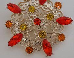 Emmons Signed Rhinestone Brooch - Vintage Signed Brooch - Vintage Rhinestone Pin - Vintage Jewelry - Orange and Yellow Rhinestone Flower - Edit Listing - Etsy