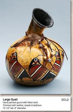 """*Gourd Art - """"Large Quail"""" by Martha Boers Decorative Gourds, Hand Painted Gourds, Native Art, Native American Art, How To Dry Gourds, Pottery Painting Designs, Southwestern Art, Rustic Crafts, Gourd Art"""