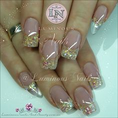 Luminous Nails: Rose Pink Gold Nails with Clear Translucent Pointy Pinkies. Latest Nail Designs, Gel Nail Art Designs, Creative Nail Designs, Creative Nails, Creative Ideas, Nails Design, Pink Gold Nails, Gold Acrylic Nails, Glitter Nail Art
