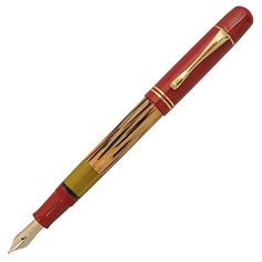 Pelikan Souveran M101N Tortoise Red Fountain Pen (Fine) The barrel is made of the typical Pelikan cellulose acetate in a very unique pattern. Connoisseurs know that the production of this decorative core of the fountain pen is extremely work-intensive. The dark-red parts are made of high-quality resin that polishes itself time and again during use. You can choose the 14 carat gold nib in four sizes: EF, F, M, and B. This gift set will only be available in a limited quantity, start..