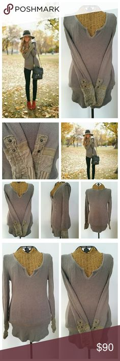 """FREE PEOPLE KYOTO cuff mushroom thermal S Fabulous thermal by We the Free Sz P S Waffle knit  Scoop neck with small cut out V KYOTO cuffs Cotton poly stretch  Underarm to underarm 16"""" unstretched  Underarm to sleeve end 18"""" Top of shoulder to hem 23"""" on sides to 27"""" Very good preloved condition Free People Tops Tees - Long Sleeve"""