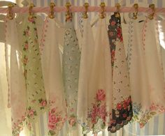 Tutorial: Spring Loaded Curtain Clips, easy to use for a valance with vintage handkerchiefs