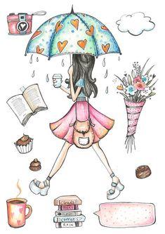 Rainy Day Clipart hand painted umbrella books by MoniqueDigitalArt To Do Planner, Happy Planner, Illustration Mode, Illustrations, Journal Stickers, Planner Stickers, Printable Stickers, Cute Stickers, Art Postal