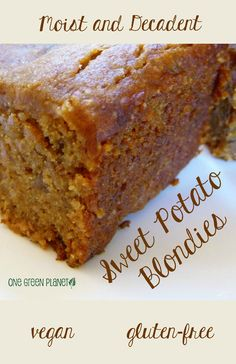 Moist and Decadent Sweet Potato Blondies [Vegan, Gluten-Free]