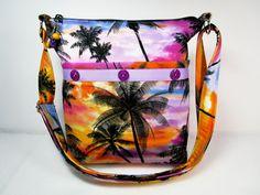 Handmade Fabric Purse / Tropical Sunset / Palm Tree Cross Body Handbag by darlingsdesigns on Etsy