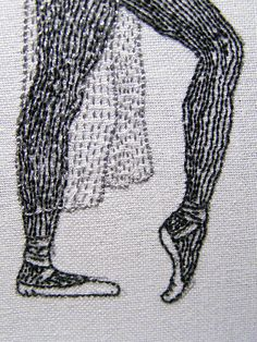 Edward Gorey detail by Judith Pudden, Embroidery